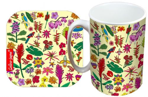 Selina-Jayne Tropical Flowers Limited Edition Designer Mug and Coaster Gift Set